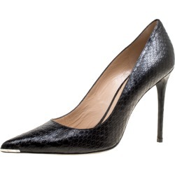 Barbara Bui Black Elaphe Leather Metal Pointed Toe Pumps Size 41 found on MODAPINS from The Luxury Closet for USD $282.29