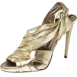 Baldinini Metallic Gold Leather Draped Peep Toe Sandals Size 38 found on MODAPINS from The Luxury Closet for USD $487.10