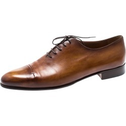 Berluti Cognac Brown Leather Signature Stitched Slash Oxfords Size 44 found on MODAPINS from The Luxury Closet for USD $1058.46