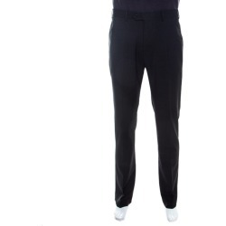 Armani Collezioni Black Wool Blend Straight Leg Trousers XL found on MODAPINS from The Luxury Closet for USD $310.00