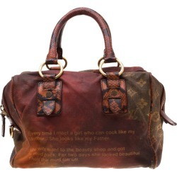 Louis Vuitton Red/Brown Ombre Monogram Canvas and Lizard Limited Edition Richard Prince Mancrazy Jokes Bag