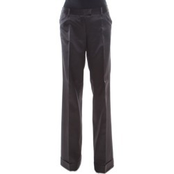 Barbara Bui Black Silk Wool Blend Pinstriped Wide Leg Trousers M found on MODAPINS from The Luxury Closet for USD $117.83
