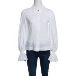 Fendi White Ruffled Cuff Detail Long Sleeve Shirt S found on Bargain Bro India from The Luxury Closet for $386.00