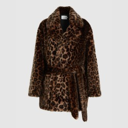 Bouguessa Animal Leopard Print Faux-Fur Coat Size S/M