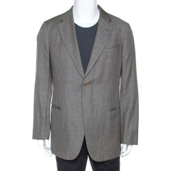 Armani Collezioni Grey Houndstooth Wool and Linen Blend Blazer XXL found on MODAPINS from The Luxury Closet for USD $381.07