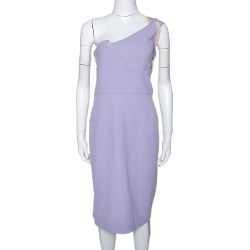 Roland Mouret Lavender Wool Crepe One Shoulder Aglais Dress M found on Bargain Bro India from The Luxury Closet for $1495.00