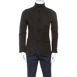 Armani Collezioni Dark Brown Wool Knit Light Weight Jacket L