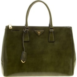 Prada Olive Green Patent Spazzolato Leather Large Double Zip Tote found on Bargain Bro India from The Luxury Closet for $2640.00