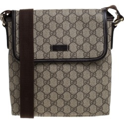 Gucci Beige/Brown GG Supreme Canvas Flat Messenger Bag found on MODAPINS from The Luxury Closet for USD $1275.00