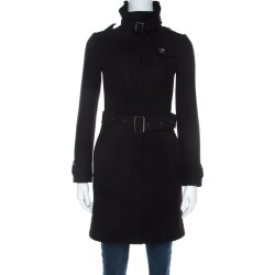 Burberry Brit Black Wool Mid Length Fitted Coat XS