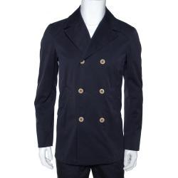 Loro Piana Midnight Blue Cotton Double Breasted Coat XS