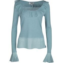 Yves Saint Laurent Powder Blue Wool Ruffle Trim Long Sleeve Sweater S