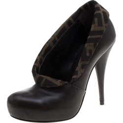 Fendi Brown/Tobacco Zucca Canvas and Leather Platform Pumps Size 36 found on Bargain Bro India from The Luxury Closet for $348.00