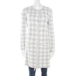 Armani Collezioni Grey and White Checked Fringed Trim Long Cardigan M found on MODAPINS from The Luxury Closet for USD $339.56