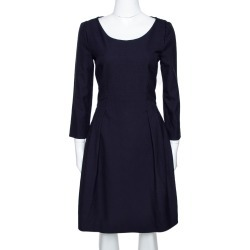 Emporio Armani Navy Blue Stretch Crepe A Line Dress M found on MODAPINS from The Luxury Closet for USD $230.08