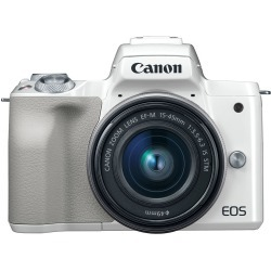Canon EOS M50 Mirrorless Digital Camera with EF-M 15-45mm camera Kit - White