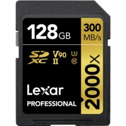 Lexar 2000X 128GB 300MB/s Professional U3 V90 UHS-II SDXC Memory Card with Card Reader