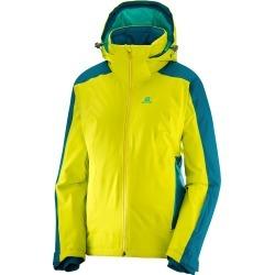 Salomon Women's Brilliant Ski Jacket, Sulphur Spring/Deep Lagoon