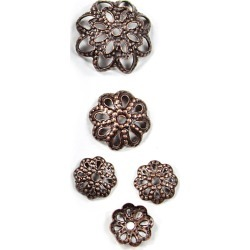Blue Moon Findings Bead Cap Metal Multi Pack Filigree Oxidized Copper