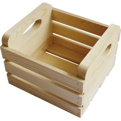 Small Basic Pine Wood Crate with Handles