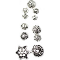 Blue Moon Findings Bead Cap Metal Multi Pack Mix 2 Antique Silver