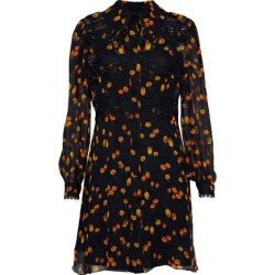 Anna Sui Woman Guipure Lace-trimmed Floral-print Georgette Mini Dress Black Size 2 found on MODAPINS from theoutnet.com UK for USD $390.26
