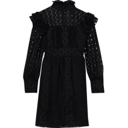 Anna Sui Woman Ruffled Embroidered Cotton-blend Tulle And Guipure Lace Mini Dress Black Size 8 found on MODAPINS from theoutnet.com UK for USD $346.20