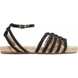 Charlotte Olympia Woman Cutout Canvas Espadrille Sandals Black Size 38