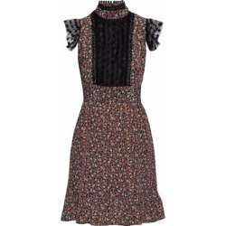 Anna Sui Woman Point D'esprit-trimmed Floral-print Crepe De Chine Mini Dress Black Size 0 found on MODAPINS from theoutnet.com UK for USD $321.02