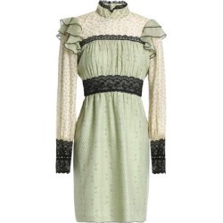 Anna Sui Woman Lace-trimmed Printed Cotton And Silk-blend Mini Dress Light Green Size 10 found on MODAPINS from theoutnet.com UK for USD $375.15