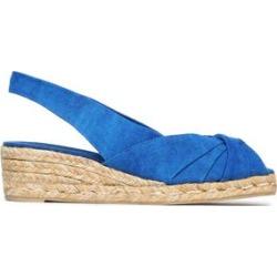 Castañer Woman Twisted Canvas Espadrille Wedge Sandals Blue Size 37