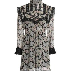 Anna Sui Woman Lace-trimmed Floral-print Silk-georgette Mini Dress Black Size 0 found on MODAPINS from theoutnet.com UK for USD $367.60