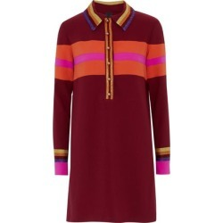 Anna Sui Woman Metallic-trimmed Striped Crepe Mini Shirt Dress Claret Size S found on MODAPINS from theoutnet.com UK for USD $366.34