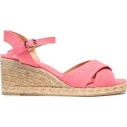 Castañer Woman Blaudell Canvas Espadrille Wedge Sandals Pink Size 39