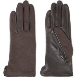 Agnelle Woman Cotton-jersey And Leather Gloves Chocolate Size 6.5 found on MODAPINS from theoutnet.com UK for USD $77.34
