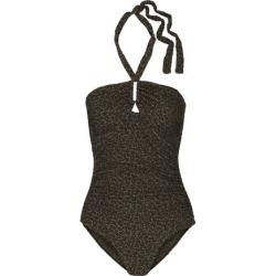Zimmermann Woman Ruched Floral-print Halterneck Swimsuit Black Size 1
