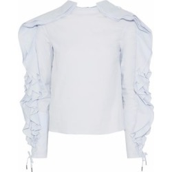 Antonio Berardi Woman Lace-up Ruffled Cotton-blend Poplin Top Sky Blue Size 38 found on MODAPINS from theoutnet.com UK for USD $400.90
