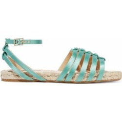 Charlotte Olympia Woman Cutout Silk-satin Espadrille Sandals Mint Size 35