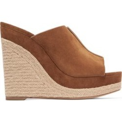 Michael Kors Collection Woman Suede Wedge Espadrille Sandals Tan Size 40.5