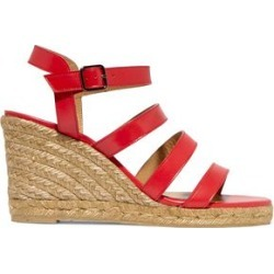 Castañer Woman Bayna Leather Espadrille Wedge Sandals Red Size 35