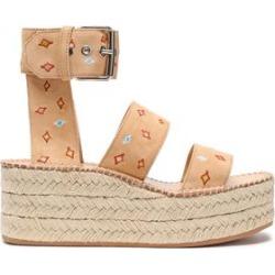 Rag & Bone Woman Suede Platform Espadrille Sandals Sand Size 39