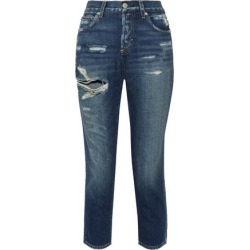 Amo Woman Distressed Straight Leg Jeans Dark Denim Size 24 found on MODAPINS from theoutnet.com UK for USD $188.27