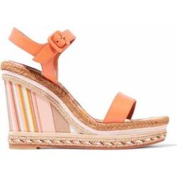 Valentino Woman Leather Platform Espadrille Wedge Sandals Orange Size 38