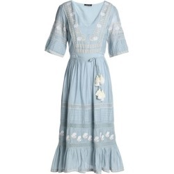 d7a1d7dff884 Love Sam Woman Tasseled Embroidered Cotton-blend Midi Dress Sky Blue Size M  found on