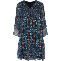 Anna Sui Woman Ruffled Floral-print Silk-blend Georgette Mini Dress Blue Size 2 found on MODAPINS from theoutnet.com UK for USD $365.08