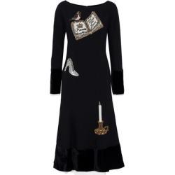 Dolce & Gabbana Woman Velvet-paneled Appliquéd Wool-blend Midi Dress Black Size 40 found on MODAPINS from theoutnet.com UK for USD $2567.47