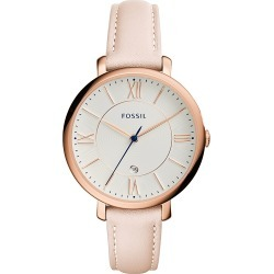 Fossil Jacqueline Date Leather Watch Blush - Fossil Watches