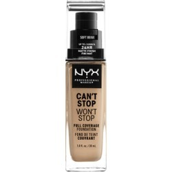 NYX Professional Makeup Can't Stop Won't Stop 24 Hour Foundation 30ml Soft Beige (Light/Medium, Cool) found on Makeup Collection from Feelunique (UK) for GBP 16.35