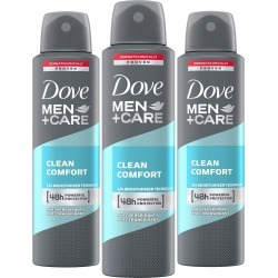 Dove Men+Care 48H Clean Comfort Anti-Perspirant Deodorant 3 X 150Ml found on Makeup Collection from Feelunique (EU) for GBP 11.52