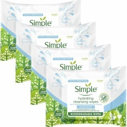 Simple Water Boost Hydrating Facial Cleansing Wipes 4 X 20 Wipes found on Bargain Bro UK from Feelunique (UK)